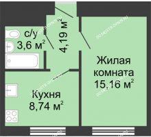 1 комнатная квартира 31,7 м² - ЖК Алый Парус