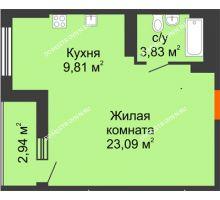 Студия 38,2 м², ЖК Орбита - планировка