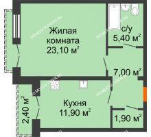1 комнатная квартира 50,5 м², Жилой дом: г. Дзержинск, ул. Кирова, д.12 - планировка