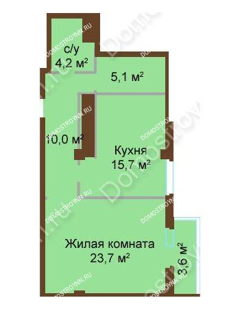 1 комнатная квартира 62,3 м² - ЖК Бояр Палас
