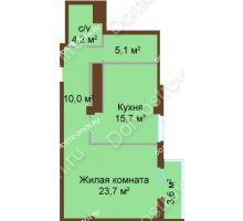 1 комнатная квартира 62,3 м², ЖК Бояр Палас - планировка