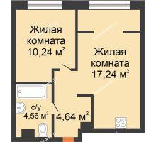 """2 комнатная квартира 36,68 м² в ЖК Европейский берег, дом ГП-9 """"Дом Монако"""" - планировка"""